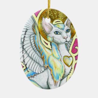 Paseo de los ángeles en el ornamento del óvalo de adorno navideño ovalado de cerámica