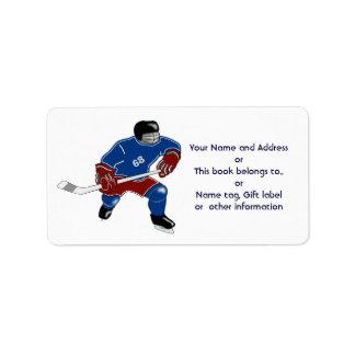 Paseo de los jugadores del hockey sobre hielo en e etiqueta de dirección
