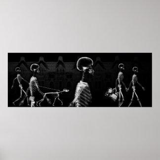 Paseo de medianoche B&W de los esqueletos de la ra Impresiones