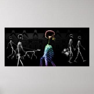 Paseo de medianoche de los esqueletos de la radiog póster