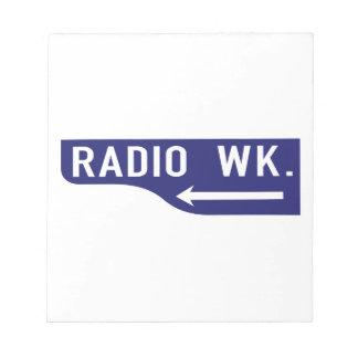 Paseo de radio, Los Ángeles, placa de calle de CA Bloc De Notas