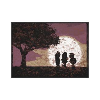 Paseo de tres amigos por la impresión de la lona lienzo envuelto para galerias