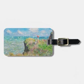Paseo del acantilado de Monet en la etiqueta del e Etiquetas Maleta