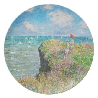 Paseo del acantilado de Monet en la placa de Pourv Plato De Comida