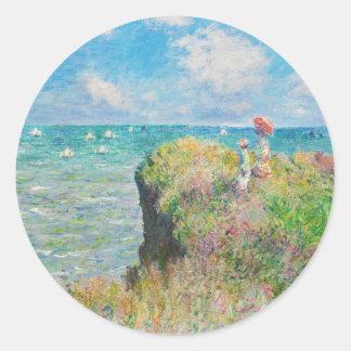 Paseo del acantilado de Monet en los pegatinas de Pegatinas Redondas