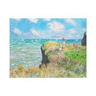 Paseo del acantilado de Monet en Pourville Impresión De Lienzo