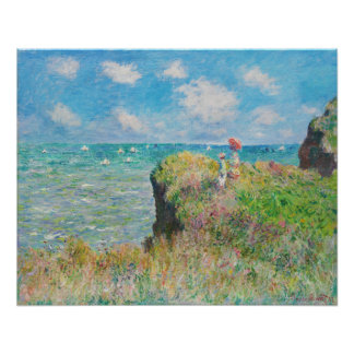 Paseo del acantilado de Monet en Pourville Póster