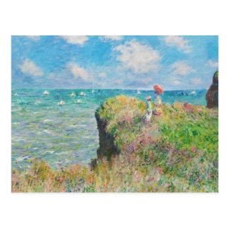 Paseo del acantilado de Monet en Pourville Tarjeta Postal