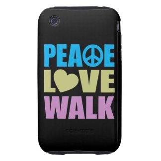 Paseo del amor de la paz funda resistente para iPhone 3