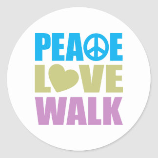 Paseo del amor de la paz pegatina redonda