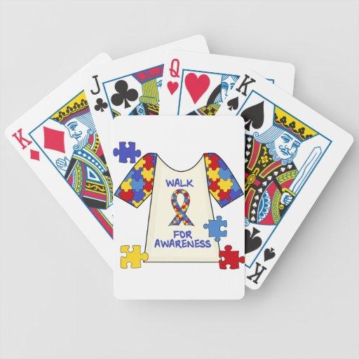Paseo del autismo para la conciencia baraja cartas de poker