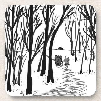 paseo del burro y del elefante a través de árboles posavasos