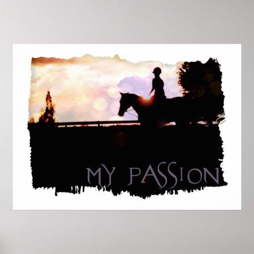 Paseo del caballo de la puesta del sol póster