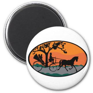 Paseo del caballo y del carro imán redondo 5 cm