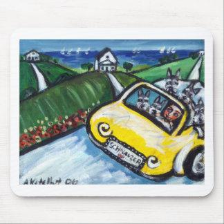 Paseo del coche del canto del Schnauzer Alfombrilla De Raton