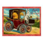 Paseo del coche del conejito de pascua del vintage tarjetas postales