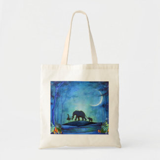 Paseo del elefante bolsa lienzo
