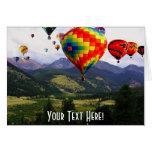 Paseo del globo del aire caliente en los Rockies Felicitacion