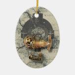 Paseo del globo dirigible de Steampunk Adorno Navideño Ovalado De Cerámica