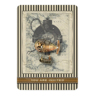 """Paseo del globo dirigible de Steampunk cualquier Invitación 5"""" X 7"""""""