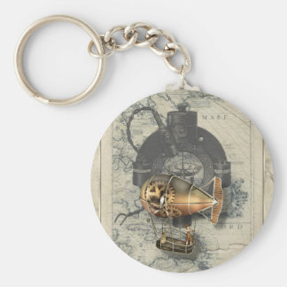 Paseo del globo dirigible de Steampunk Llavero Redondo Tipo Pin