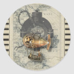 Paseo del globo dirigible de Steampunk Pegatina Redonda