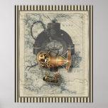 Paseo del globo dirigible de Steampunk Póster