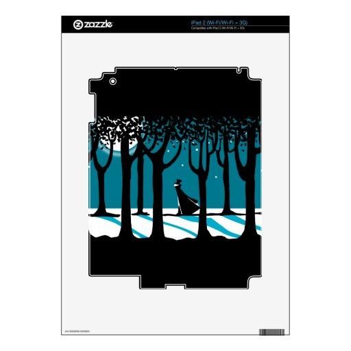 Paseo del invierno en maderas iluminadas por la lu calcomanía para el iPad 2