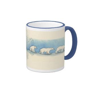 Paseo del oso polar tazas de café