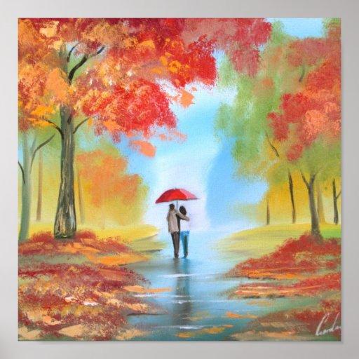Paseo del otoño póster