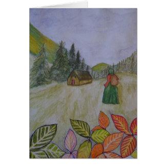 Paseo del otoño tarjeta de felicitación