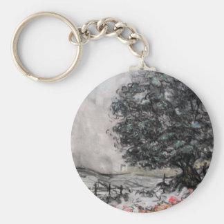 Paseo del país en carbón de leña/llavero en colore llavero redondo tipo pin
