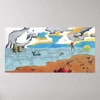 Paseo del paraguas a través del océano póster