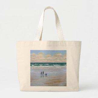 Paseo del perro de la playa del ~ de la bolsa de a