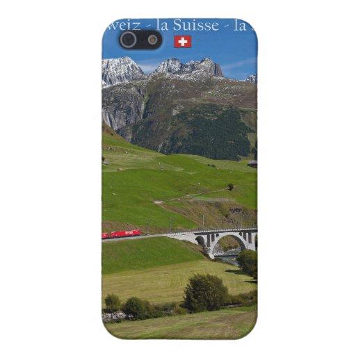 Paseo del tren a través de las montañas suizas iPhone 5 funda