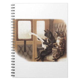 Paseo del tren del gatito libros de apuntes con espiral
