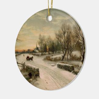Paseo del trineo de la mañana de navidad del adorno redondo de cerámica