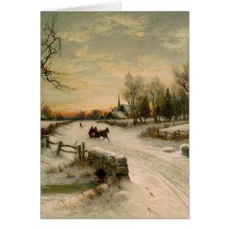 Paseo del trineo de la mañana de navidad del vinta tarjeta de felicitación