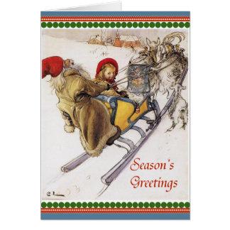 Paseo del trineo de la Nochebuena Felicitaciones