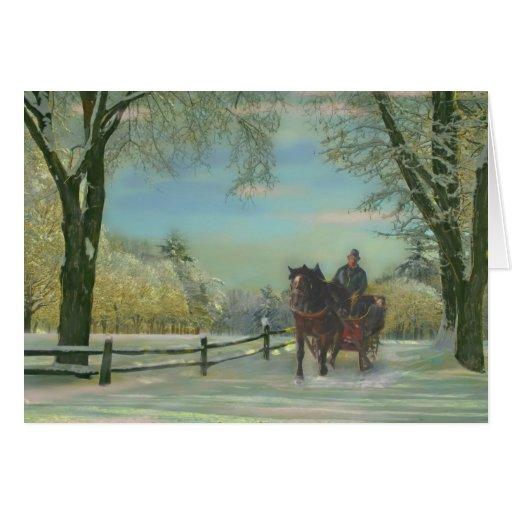Paseo del trineo de Nueva Inglaterra, tarjeta de