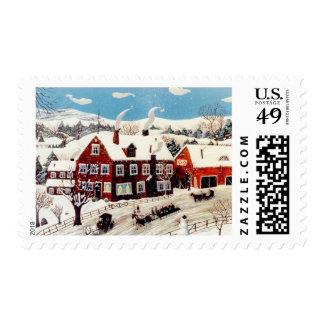 Paseo del trineo timbre postal