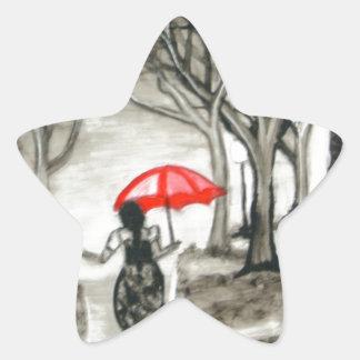 Paseo en la lluvia calcomanía cuadrada