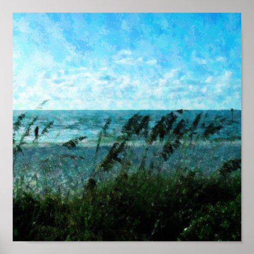 Paseo en la playa póster