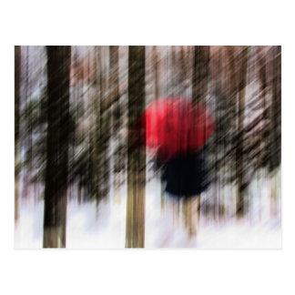 Paseo en las maderas del invierno postal