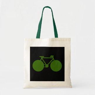 paseo encendido. actitud verde de la bicicleta bolsa tela barata