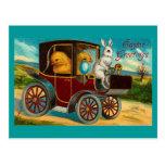 Paseo feliz del coche de motor de Pascua Postales
