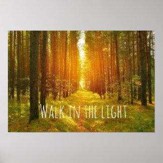 Paseo inspirado en el verso ligero de la biblia póster
