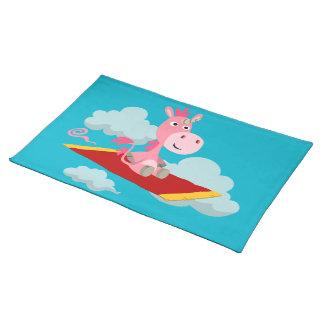 Paseo mágico Placemat de la alfombra del unicornio Manteles