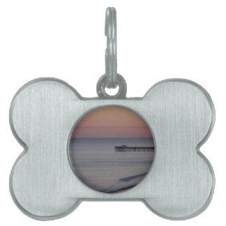 Paseo marítimo de la luz de la noche de la playa placa de nombre de mascota