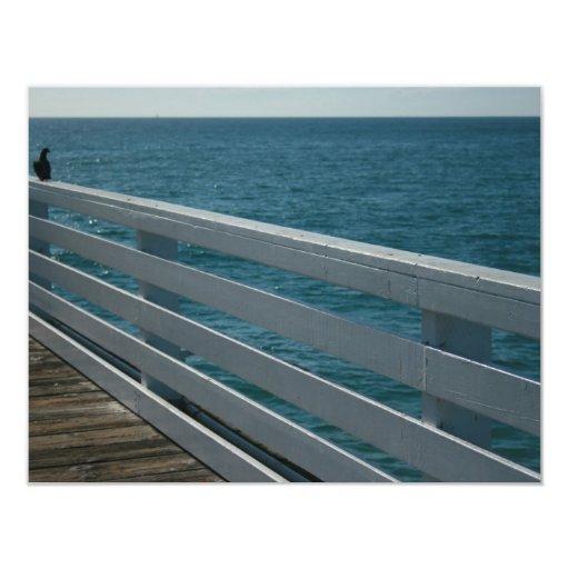 paseo marítimo del océano invitación 10,8 x 13,9 cm